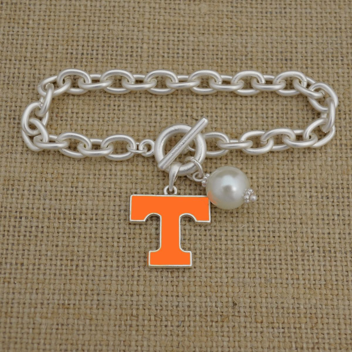 Tennessee Volunteers Logo and Pearl Toggle Bracelet, $9.98 // Go Vols! ♥