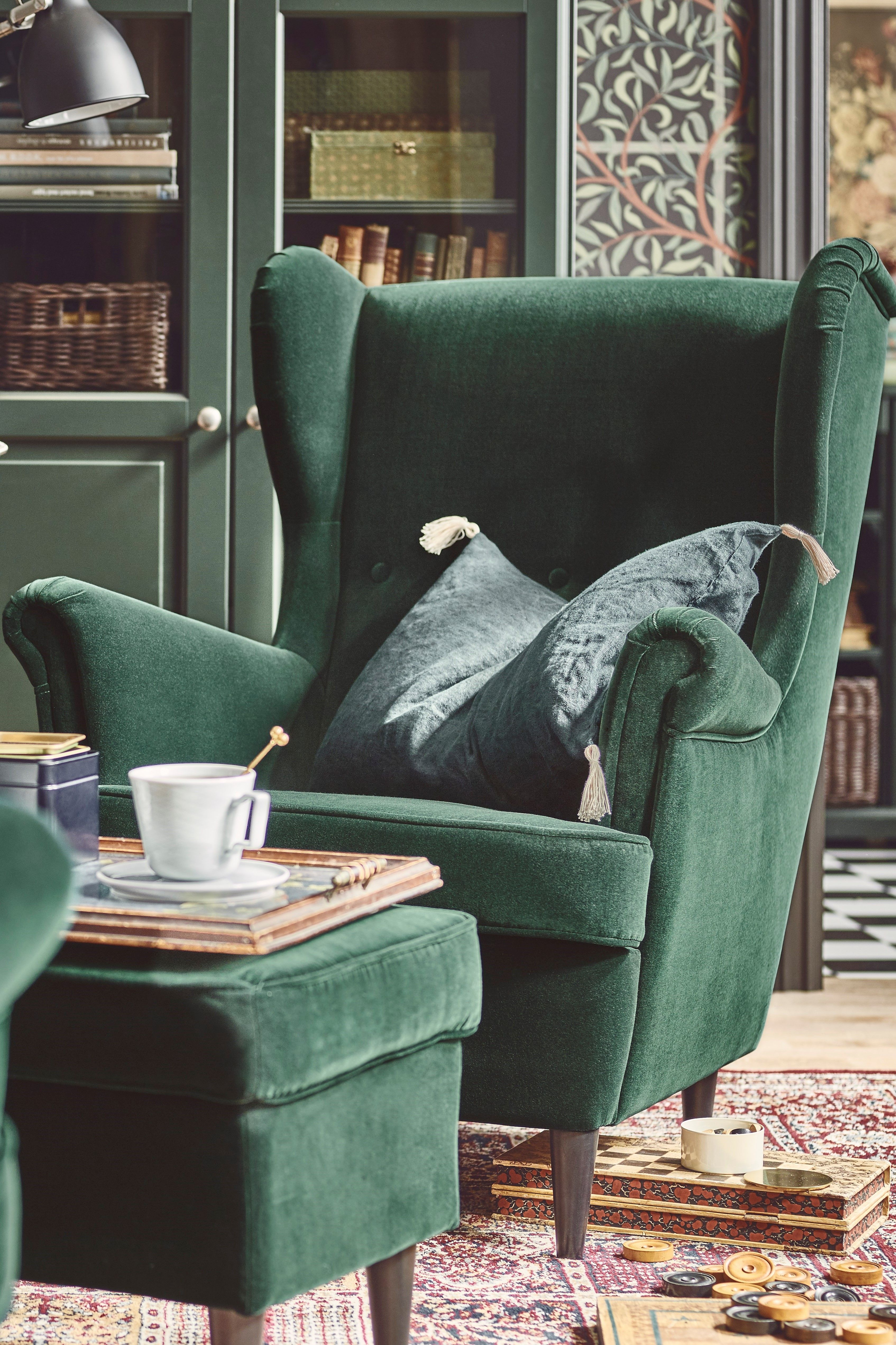 Strandmon Tallmyra Dark Green Wing Chair Ikea In 2020 Green Chair Living Room Lounge Chairs Living Room Living Room Victorian House