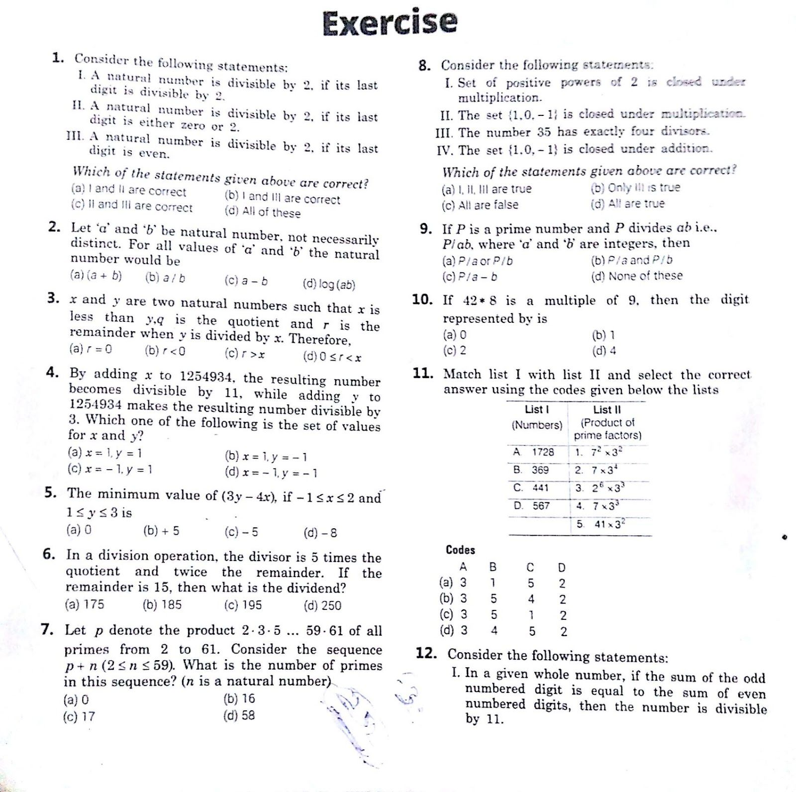 COMBINED EXERCISES FOR NUMBER SYSTEM , SURDS AND RADICALS ...