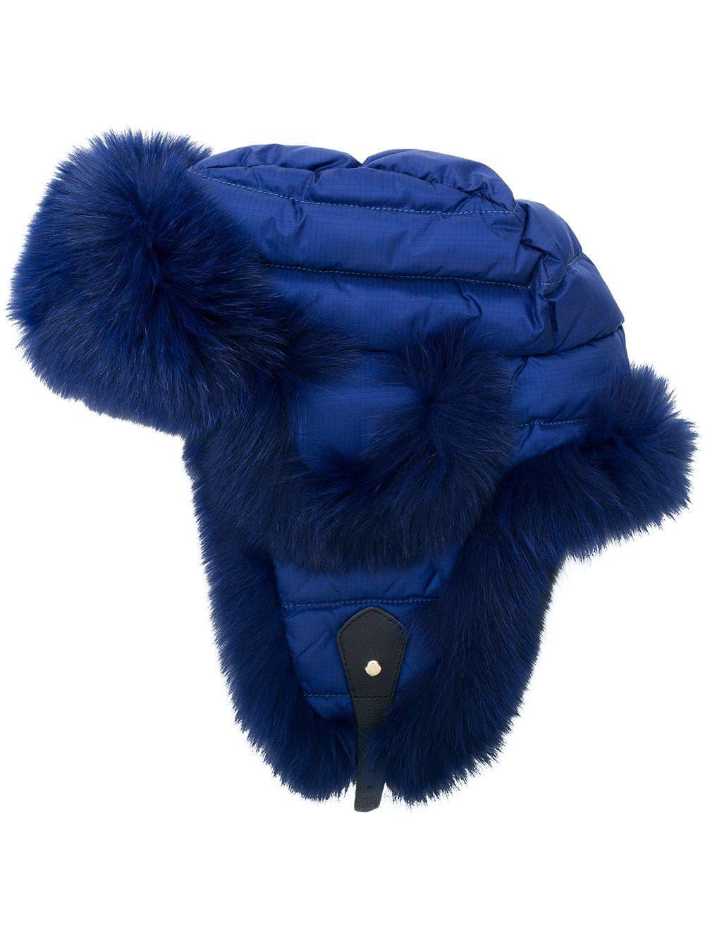 2f6171a64 Liska padded fur trim hat - Blue in 2019 | Products | Fur trim, Fur ...