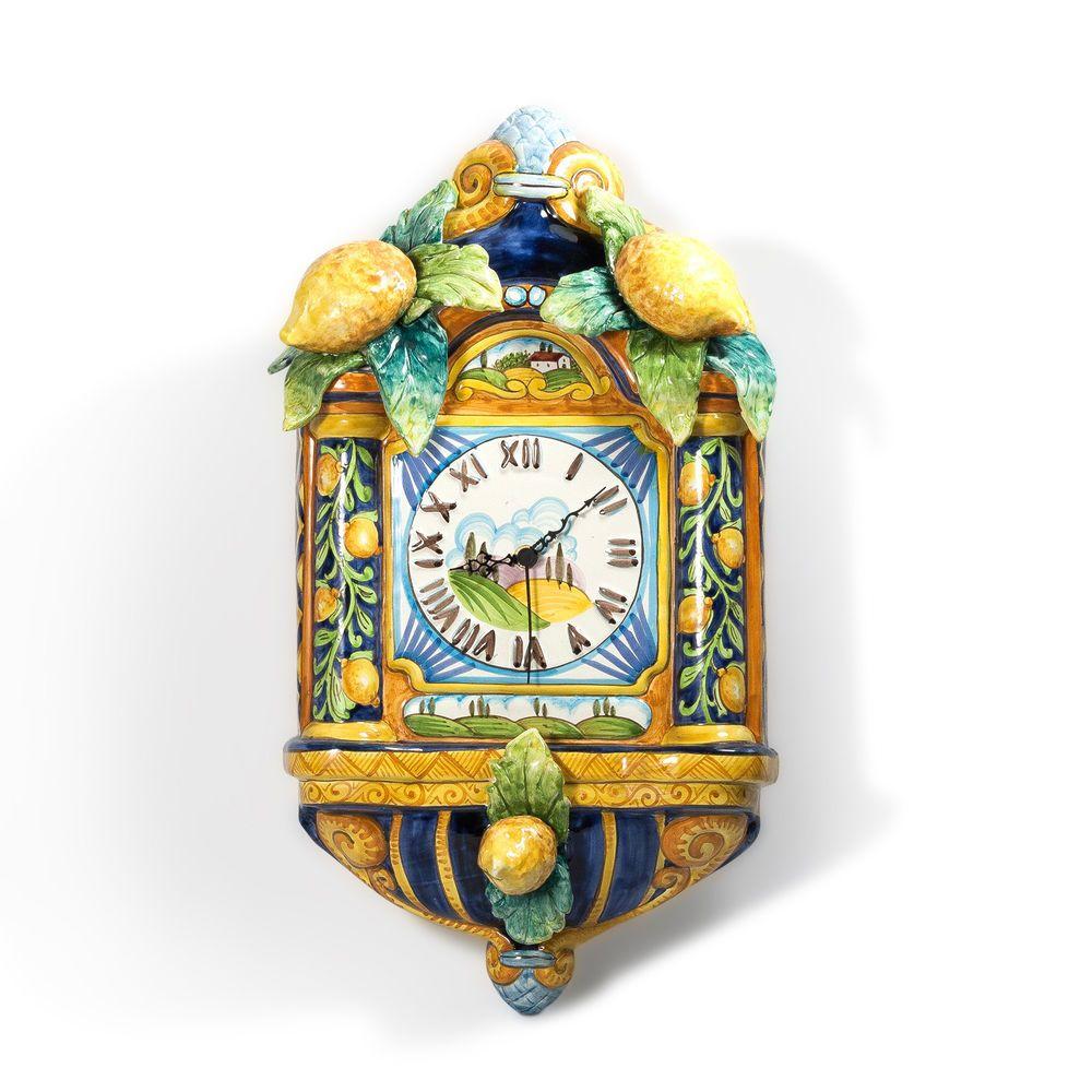 Italian Ceramic Platter Wall Clock Decor Handmade And Hand