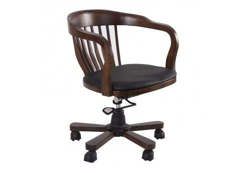 Chaise de bureau en bois marron foncé sur roulettes vical home