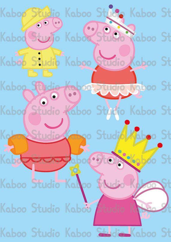 Instant Preuzimanje - cliparts - Peppa Pig x 4
