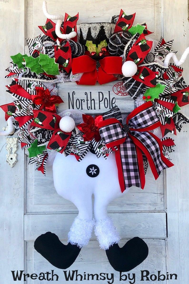 Deco Mesh Wreath Winter Wreath Christmas Door Decor Christmas Wreath Whimsical Christmas Wreath Snowman Wreath