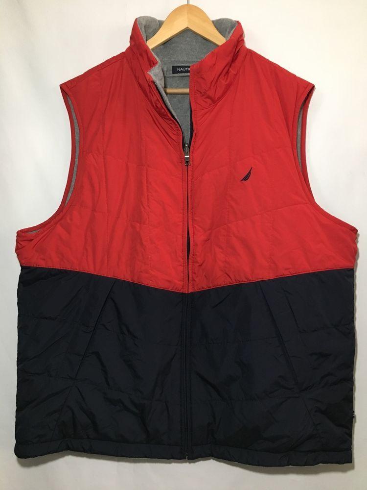 NEW Nautica Men's XXL Vest Reversible Nylon / Fleece Zip