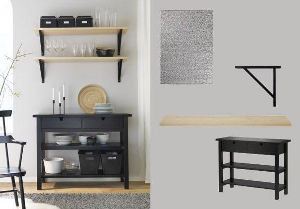 Ikea Birch Credenza : Norden black solid birch sideboard and ekby jÄrpen valter