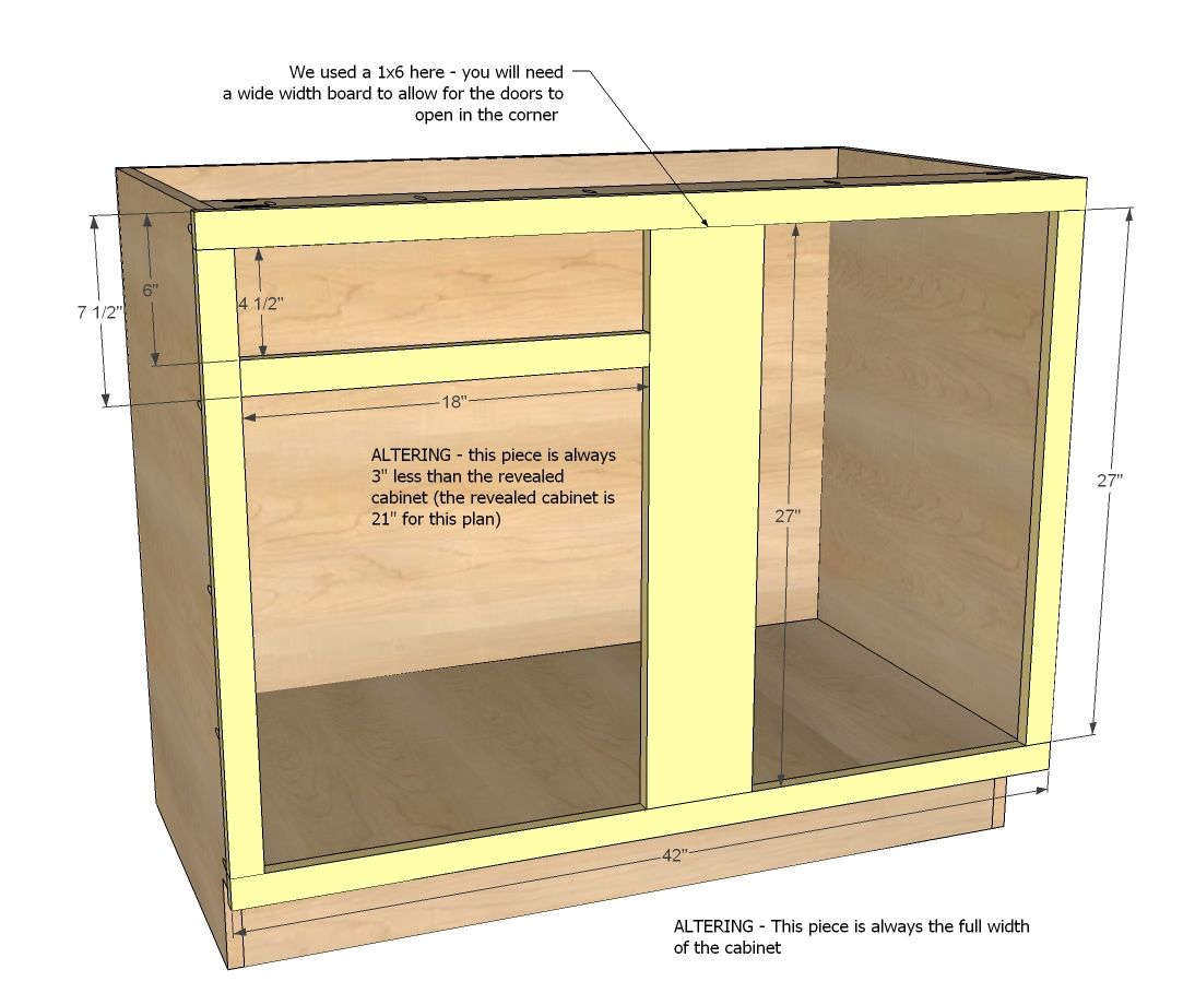 "Diy Kitchen Cabinet Plans: 42"" Base Blind Corner Cabinet"
