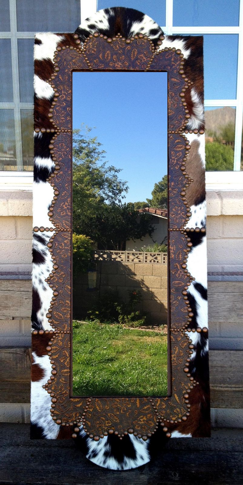 Custom Mirror Hand Tooled Leather Copper Tacking Your