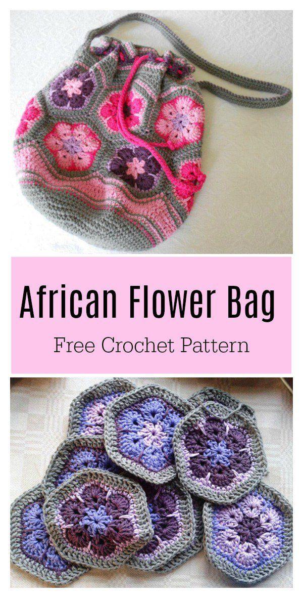 African Flower Motif Bag Free Crochet Pattern | Bolsas | Pinterest ...