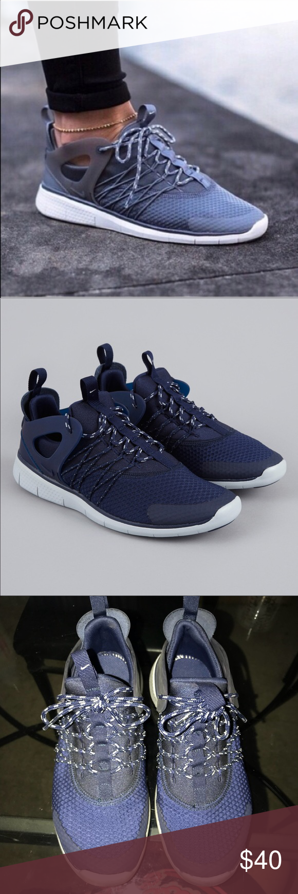 98f4709ad0fde Nike Free Viritous Navy Blue Sneakers Gently worn still look great. When  theyre cleaned they