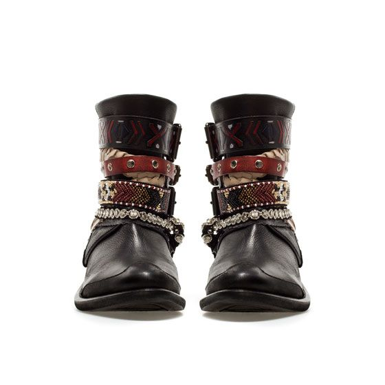 STRAPPY ETHNIC ANKLE BOOT- TRF