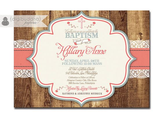 Rustic Baptism Invitation Lace Wood Christening Invite Baby Girl
