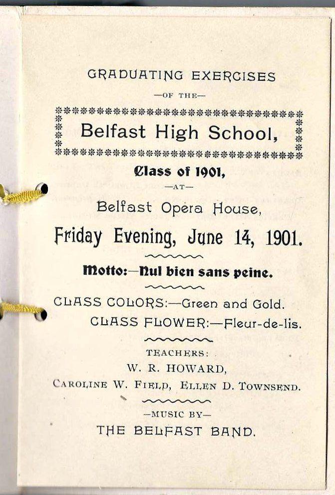 1901 Graduation Program of Belfast High School at Belfast, Maine - graduation program