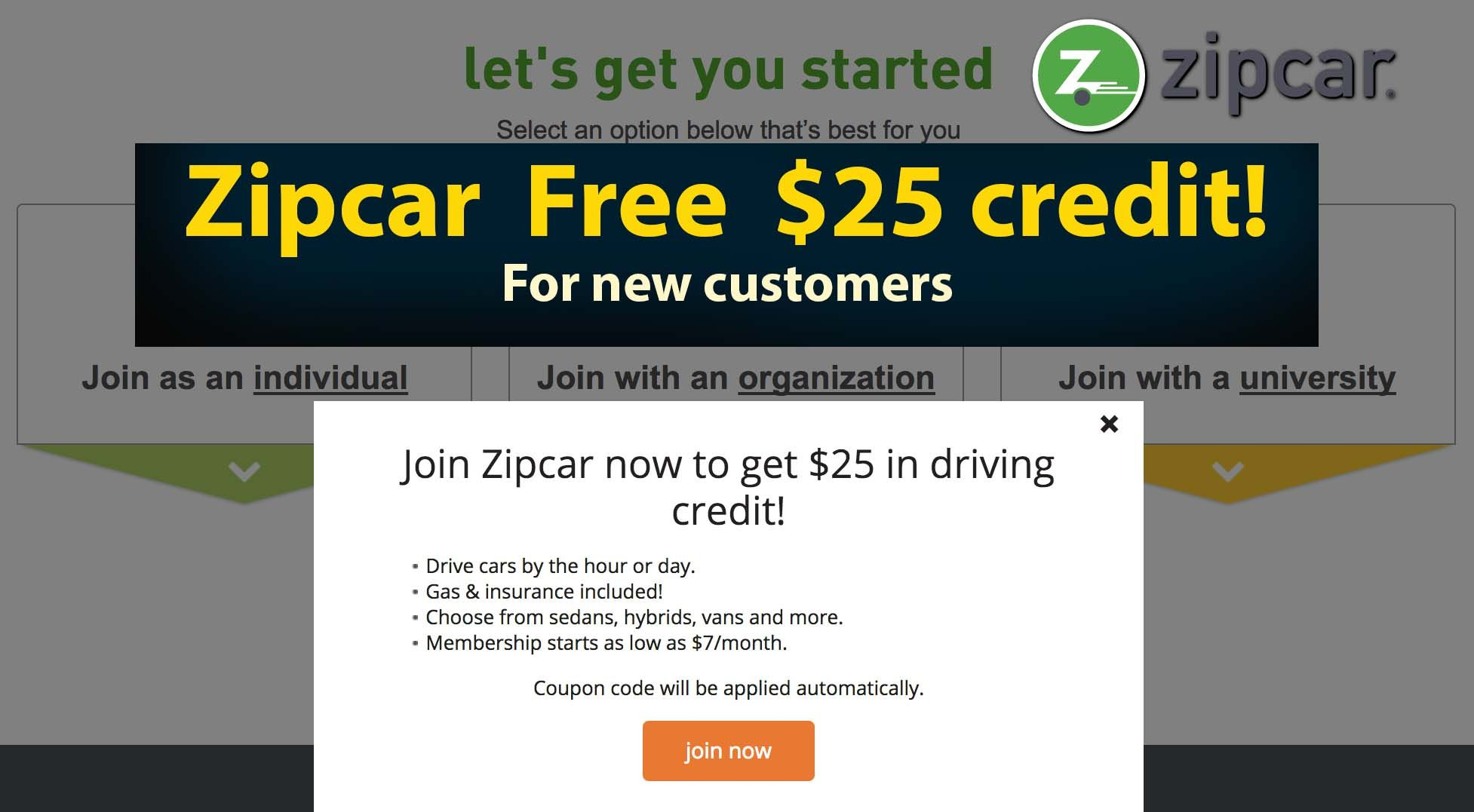 Zipcar Promo Code Get 25 In Zipcar Credits When You Sign Up