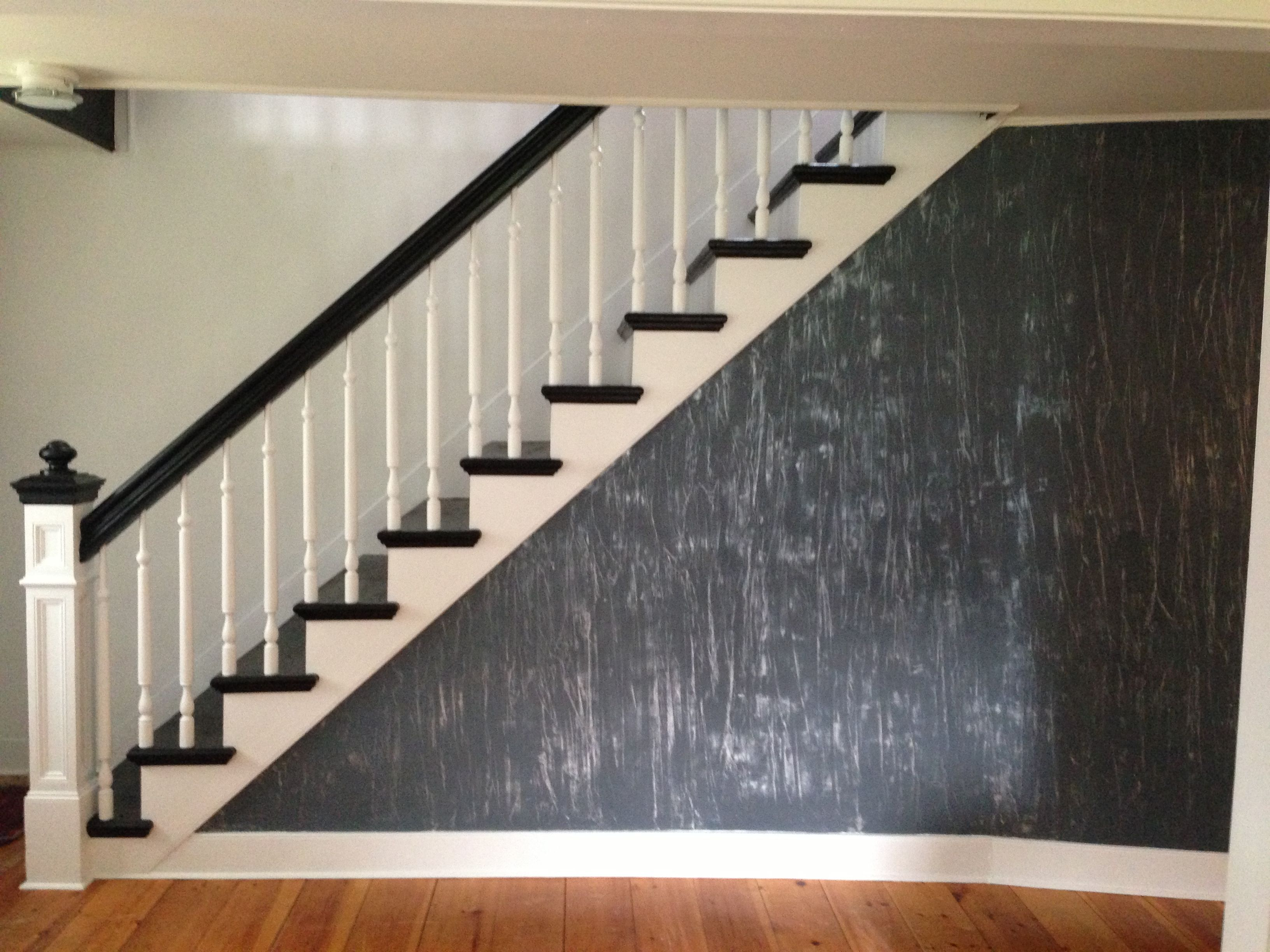 Embedded Tissue Paper With Troweled Plaster Finish To Wall, Stair Treads  And Railing Painted Black