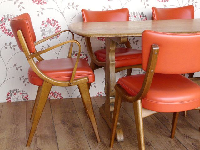 Retro Benchairs and oak Ercol table. Scaramanga vintage and retro furniture and fashion.
