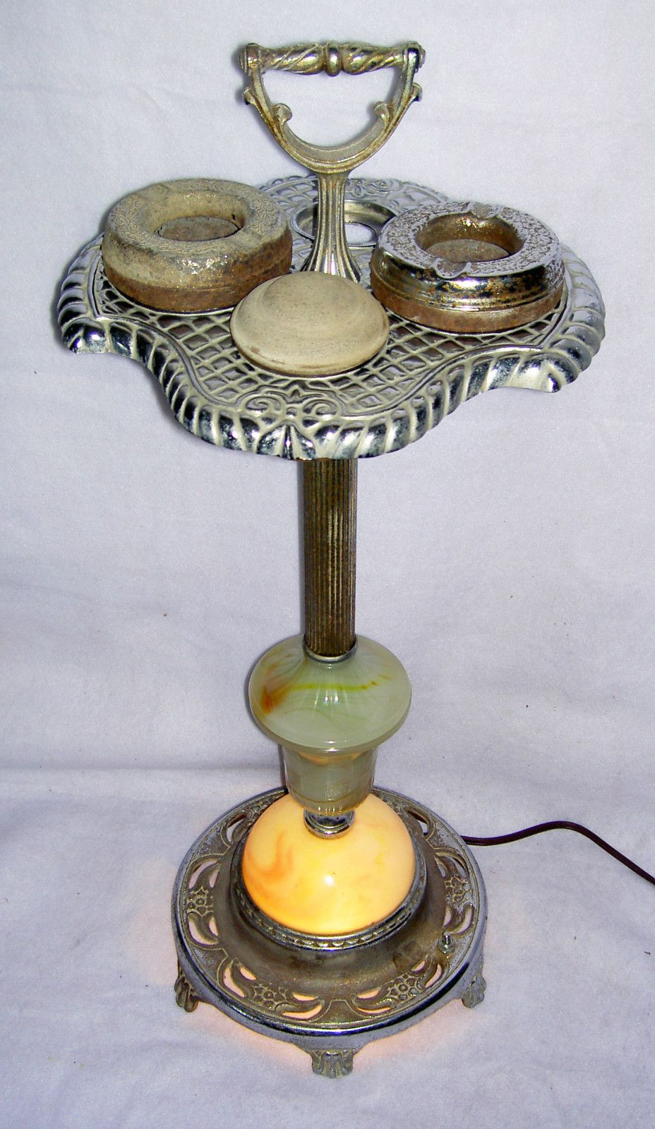 Vintage Slag Glass Lighted Smoking Stand Ashtrays Chrome