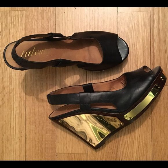 TULESTE MARKET - Vanchetta Leather Peep Toe Wedge Tuleste Market Sparrow Leather Peep Toe Wedge Size 8. Gold plated wedge adds a glamorous touch. The brand is known for its exquisite gold plated jewelry making these a perfect statement piece. Tuleste Shoes Wedges