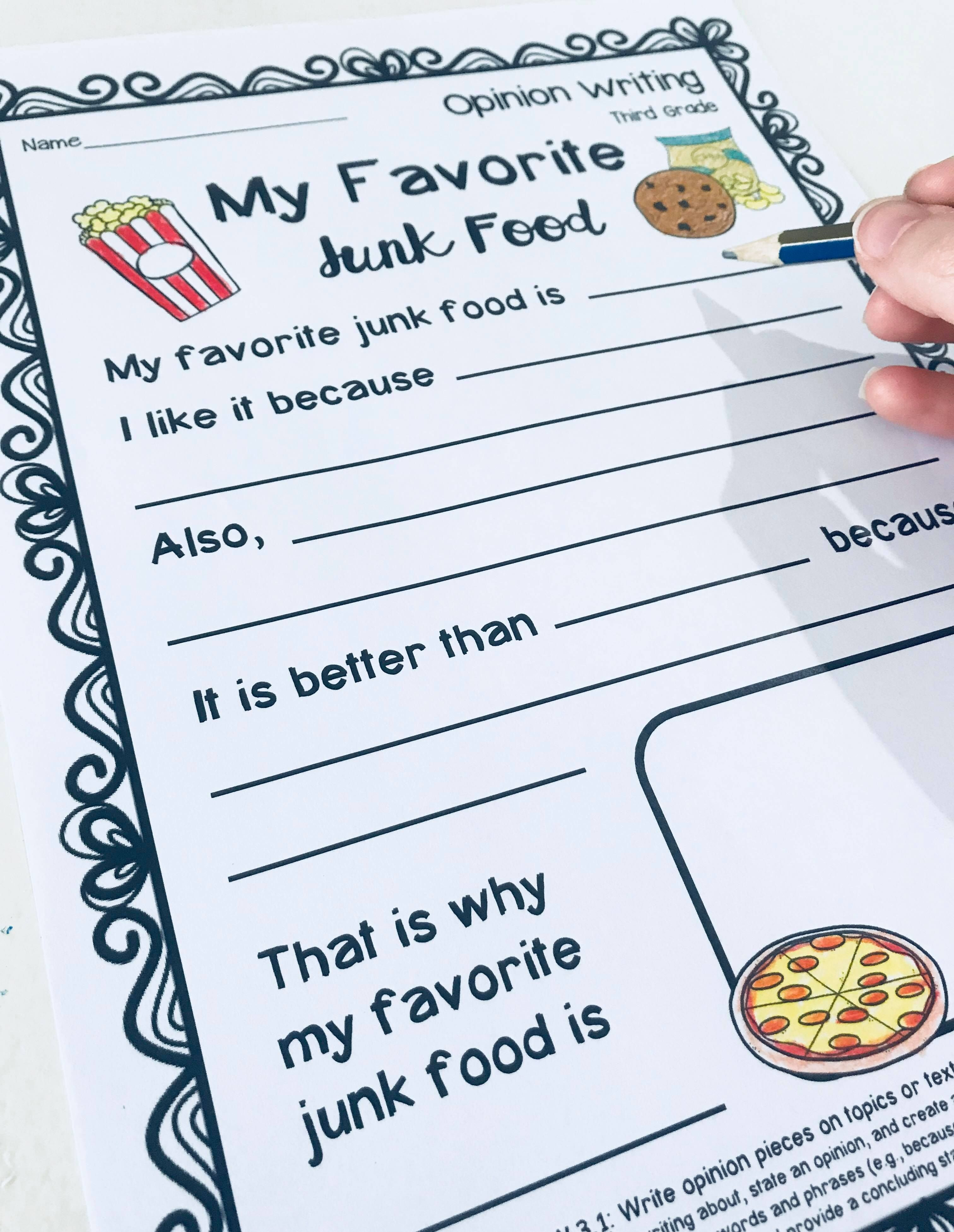 Third Grade Opinion Writing Prompts Worksheets