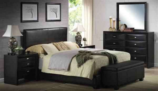 Ireland Contemporary Black PU Wood 5pc Master Bedroom Set W/King Bed