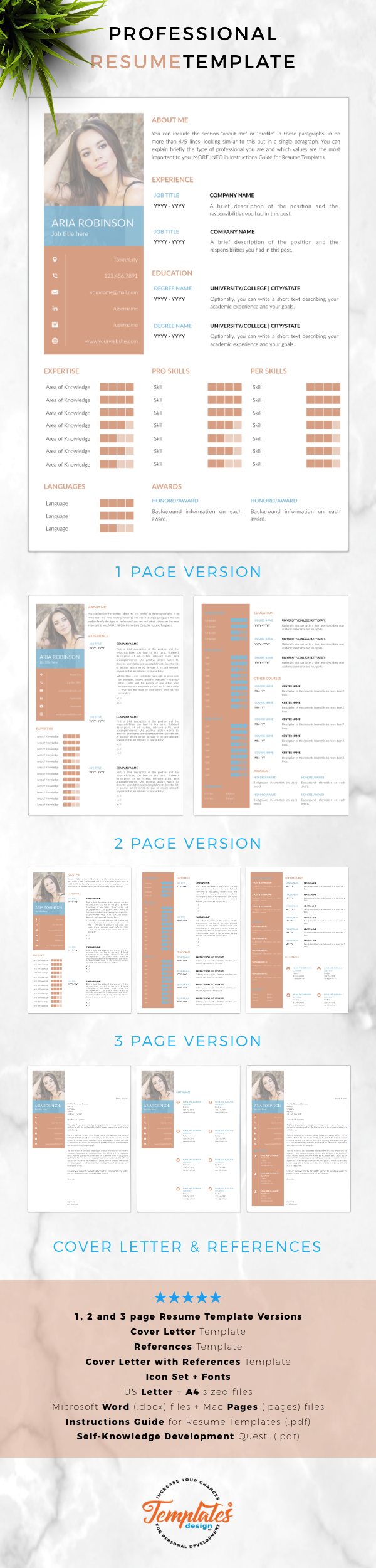 creative  u0026 simple resume template for word and pages    cv
