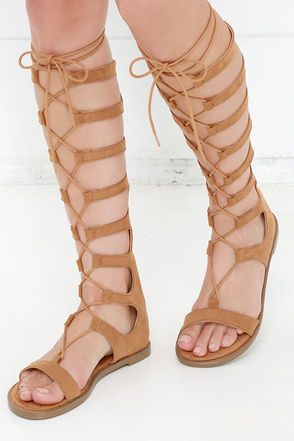 87002a6275 Chinese Laundry Galactic Cocoa Brown Tall Gladiator Sandals at Lulus.com!