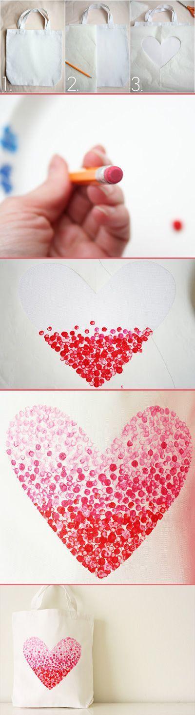 Valentinstag Geschenk Basteln einkauftasche mit herz diy basteln mit herzchen