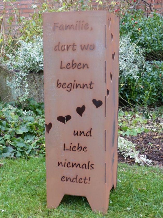 Feuersäule Mit Spruch Familie Dort Wo Leben Beginnt Und Liebe
