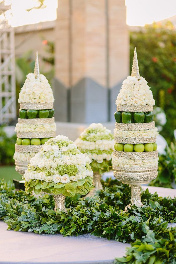 Unique Centerpieces with Fruits & Vegetables | Photography: Brian Leahy Photography. Read More: https://www.insideweddings.com/news/travel-honeymoon/say-i-do-and-honeymoon-at-one-of-balis-most-luxurious-resorts/3222/