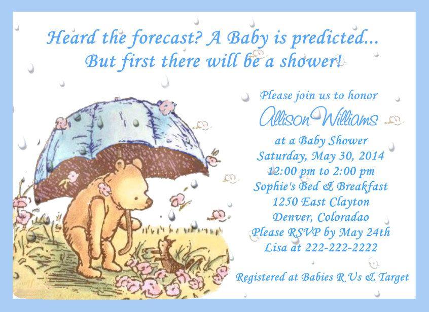 Classic Pooh Umbrella Baby Shower Invitations | Umbrella baby shower ...