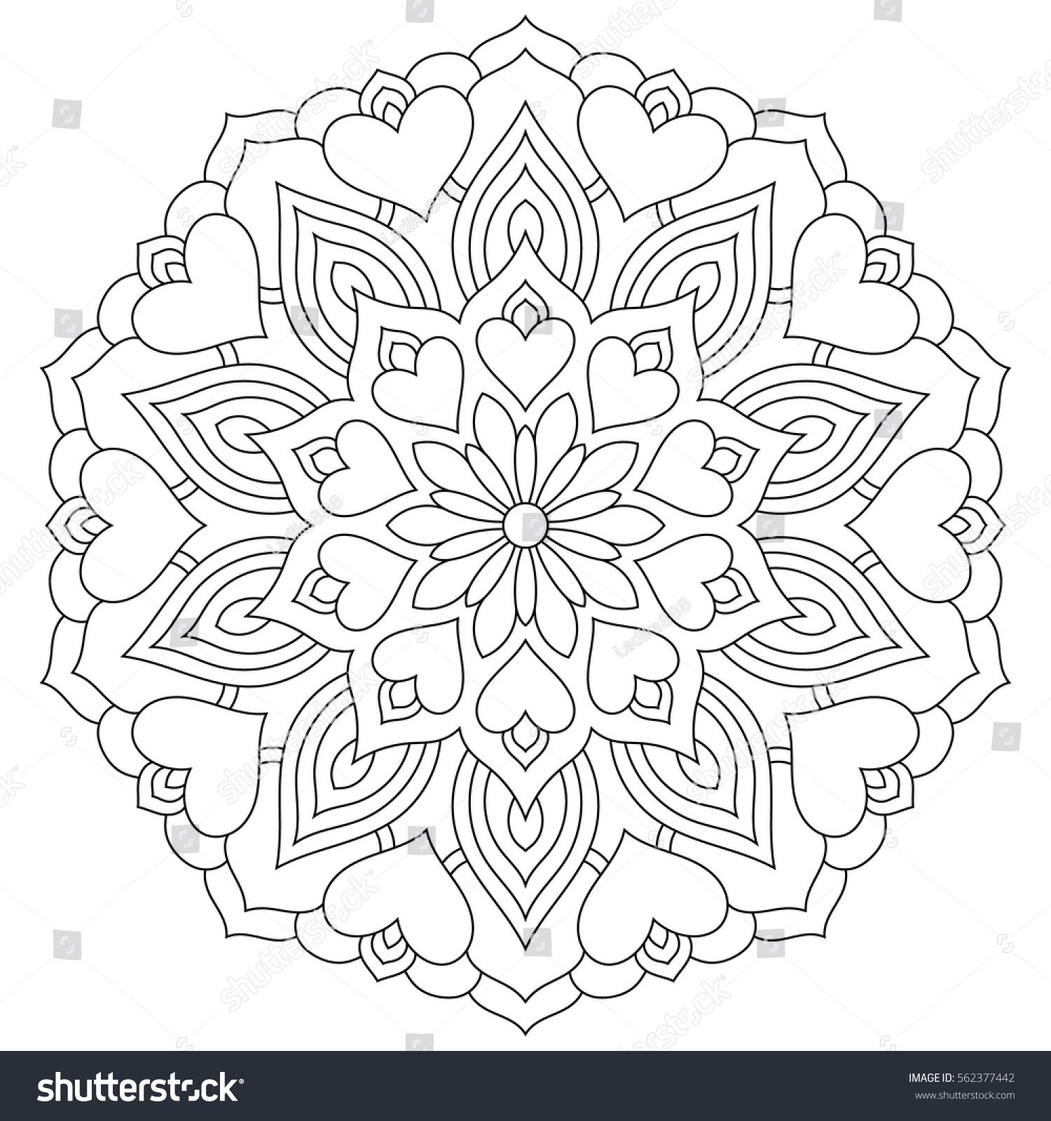 Flower mandala with hearts. Coloring page for Valentine's ...