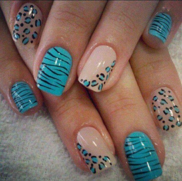 Blue Zebra And Leopard Nail Art Nails Pinterest Leopard Nail