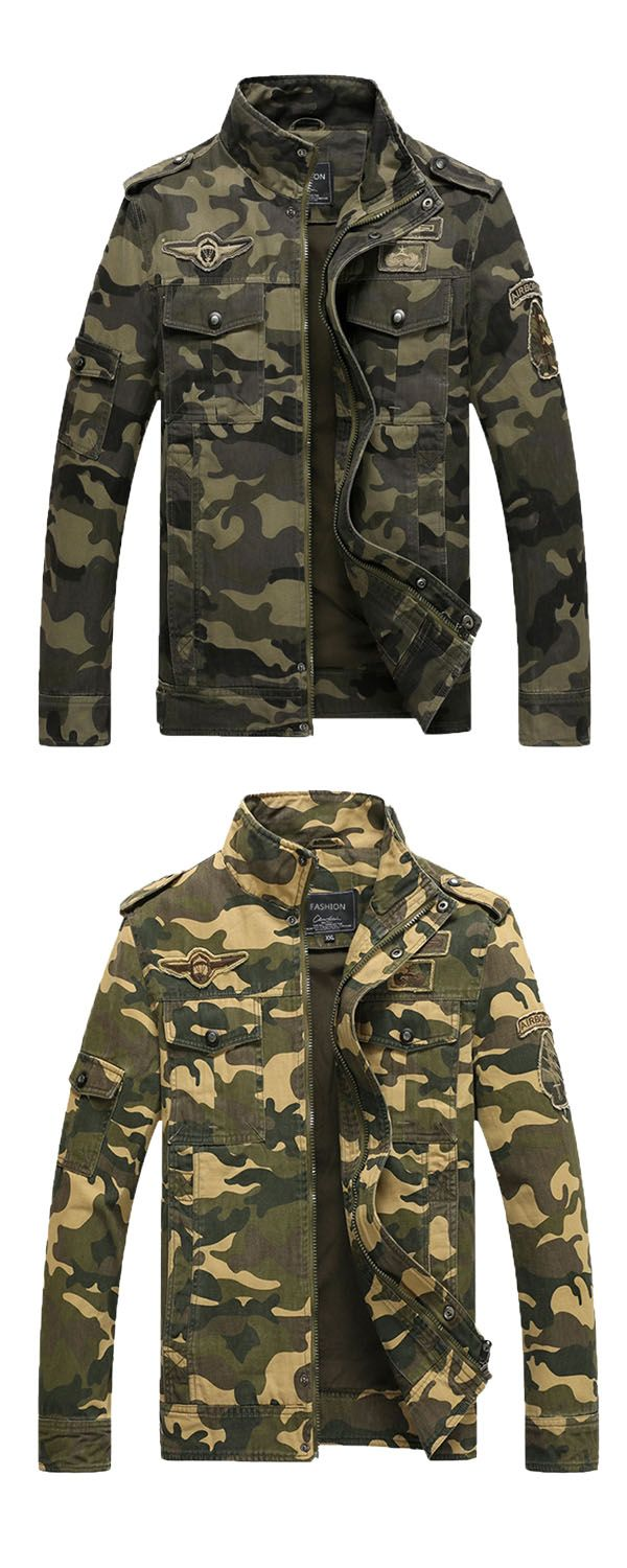 671bab45bfeb1 Stand Collar Camouflage Zipper Slim Fit Casual Men's Jacket in 2019 ...