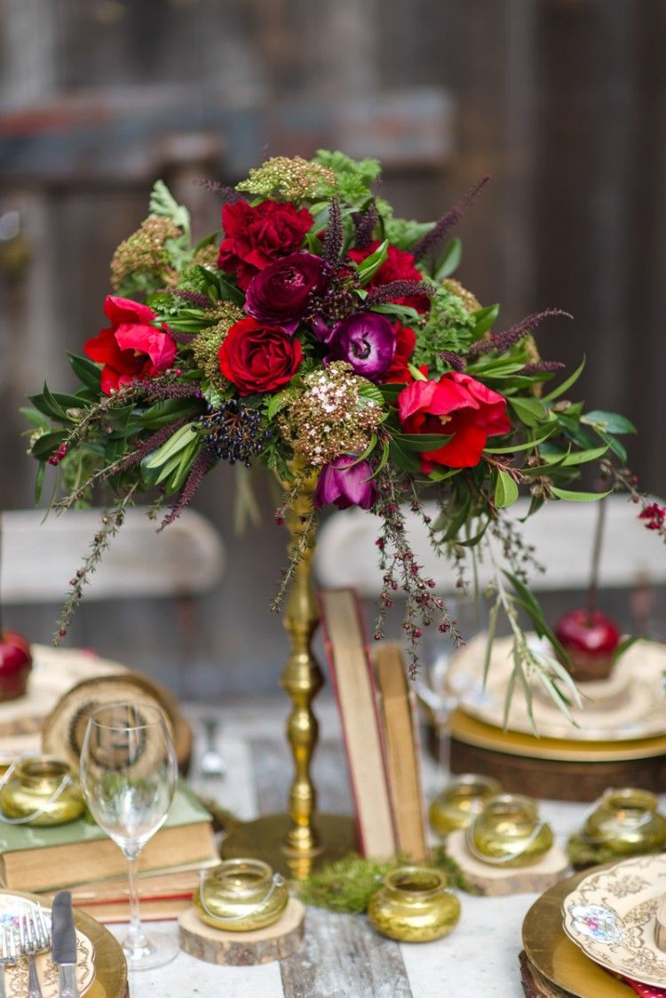 Rich Red & Gold Tall Wedding Centrepiece // Florals ~ Magdalen Hill & Photography ~ Natalie McNally