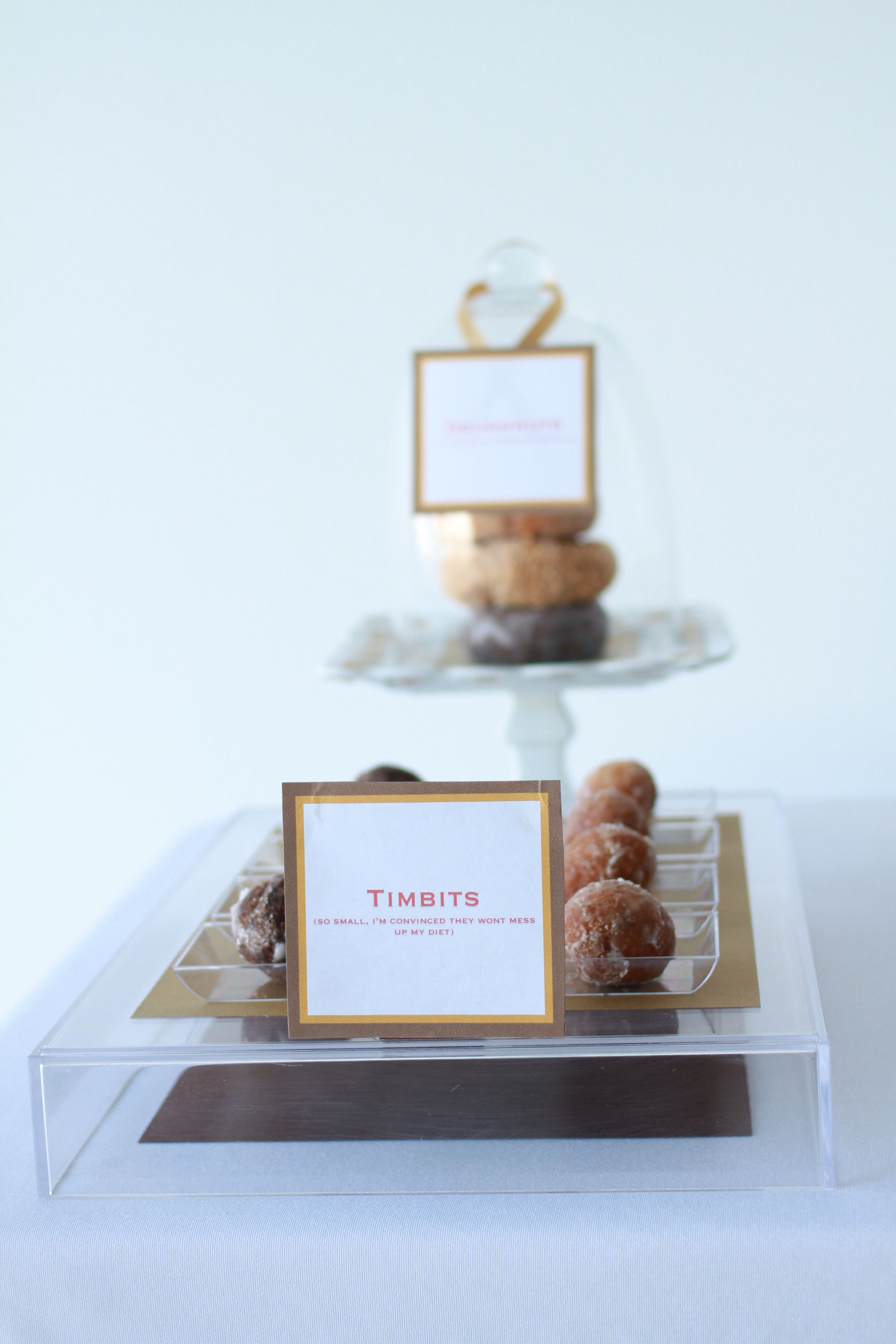 timbits! Place card holders, Sweet table, Card holder