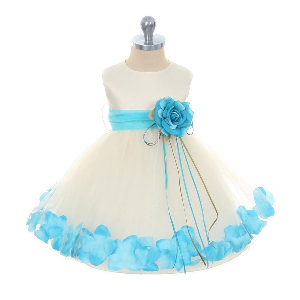Kids dream girls ivory aqua blue satin petal dress with tulle ivoryaqua infant rose petal flower girl dress with removable sash izmirmasajfo
