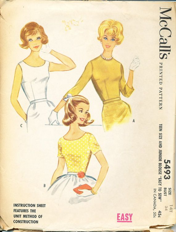 Vintage McCall's 5493 Pattern Teen Girl's Fitted by PosyDots, $6.00