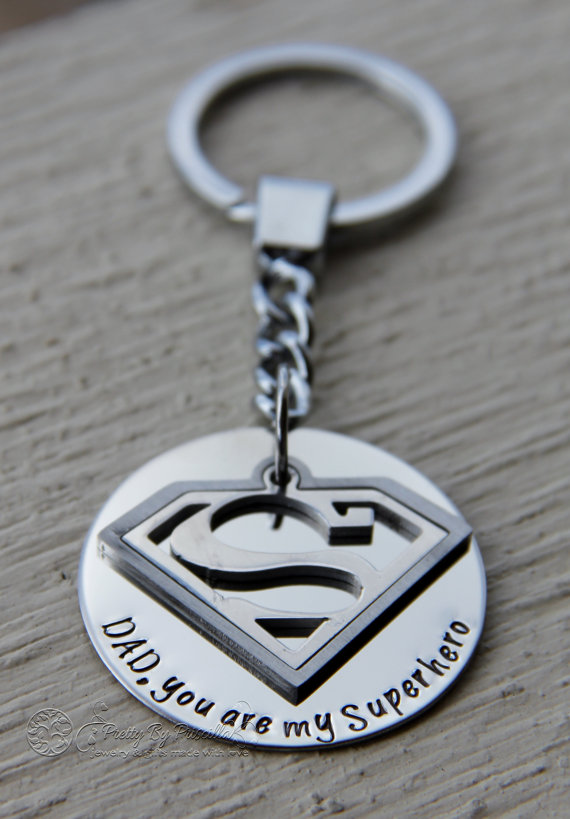 Superman Keychain for Dad - Fathers Day Gift - Dad, you are my superhero - Gift from Kids - Hand Stamped Keepsake - First Father Day #superherogifts