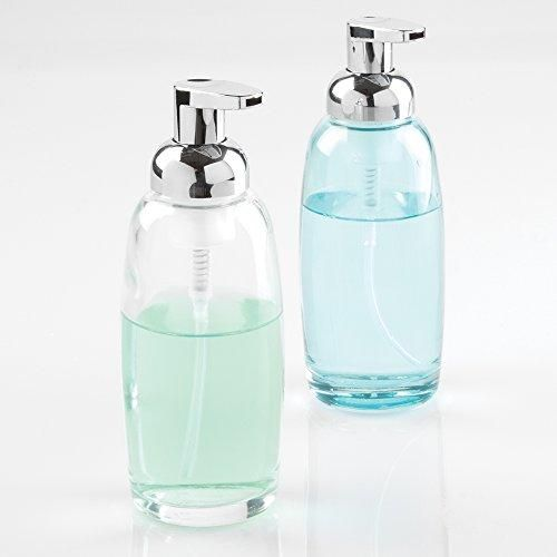Mdesign Glass Foaming Soap Dispenser Pump 2Pc Bathroom Accessory Alluring Clear Bathroom Accessories Decorating Design