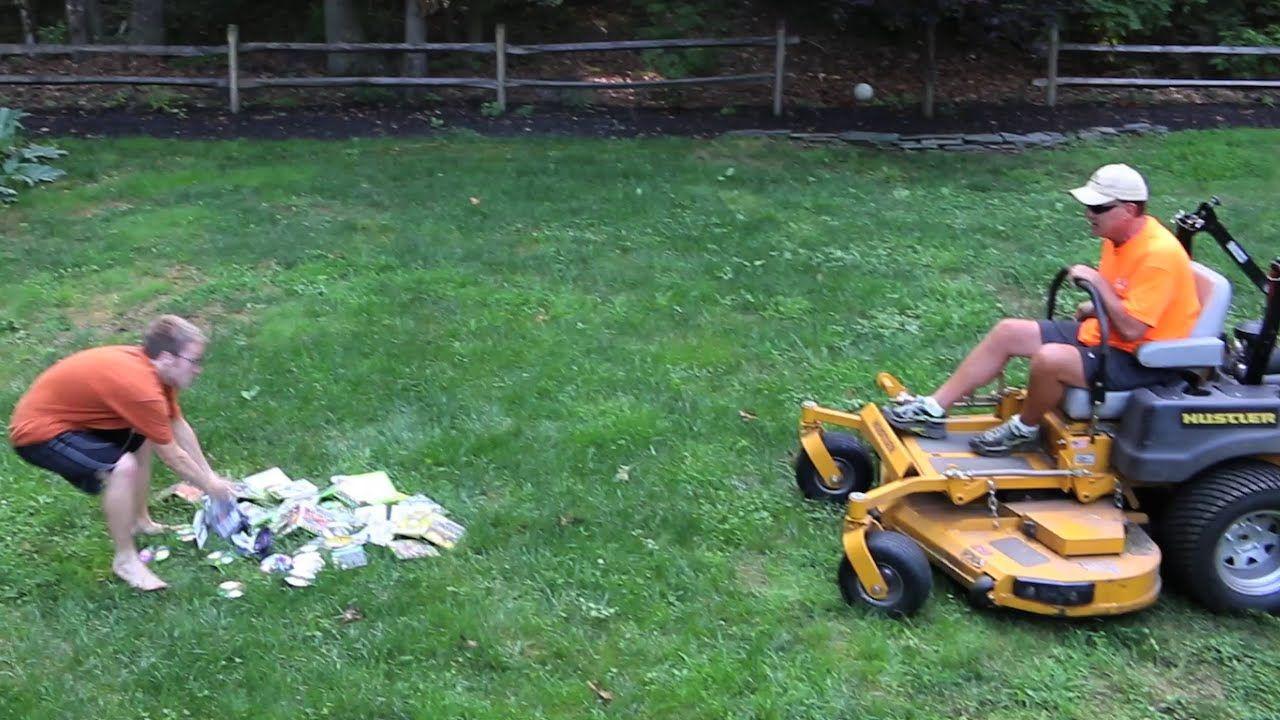 Dropping Stuff Into An Upside Down Lawnmower In Slow