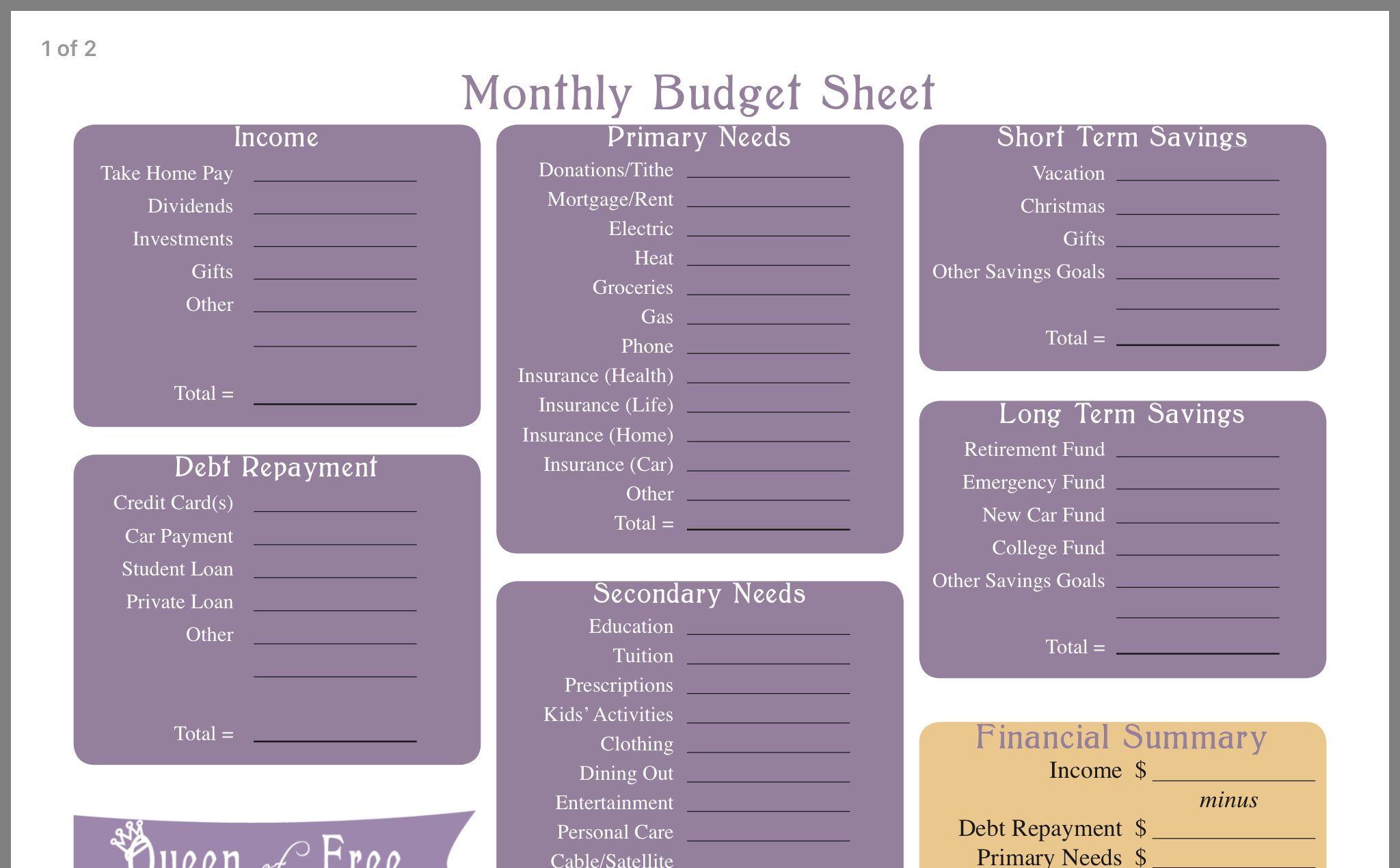 Monthly Budget Sheet Image By Lorry Neale On Scrapbooking
