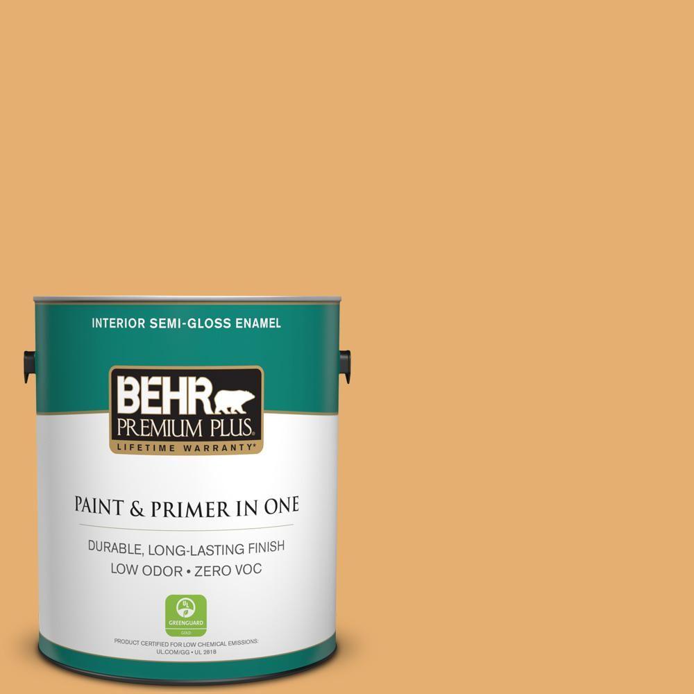 BEHR Premium Plus 1-gal. #M260-5 Mac N Cheese Semi-Gloss Enamel Interior Paint