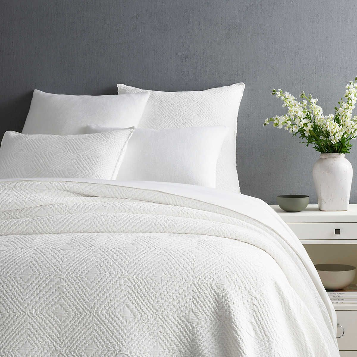 Kerala White Matelasse Coverlet Pine Cone Hill White Coverlet Single Quilt White Quilt Bedding