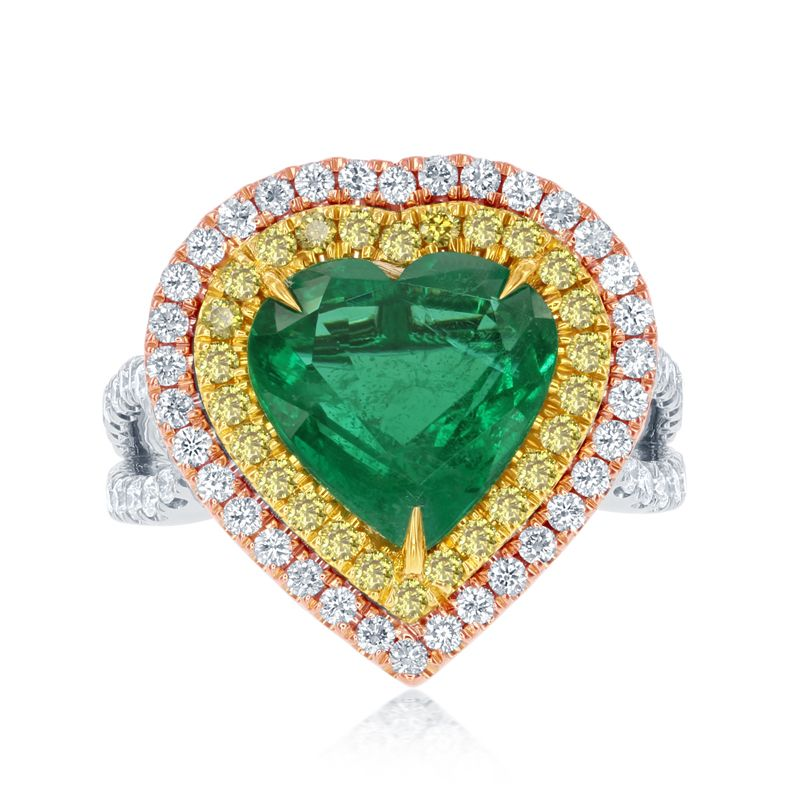 front diamond halo shaped edwardian ring engagement and heart emerald