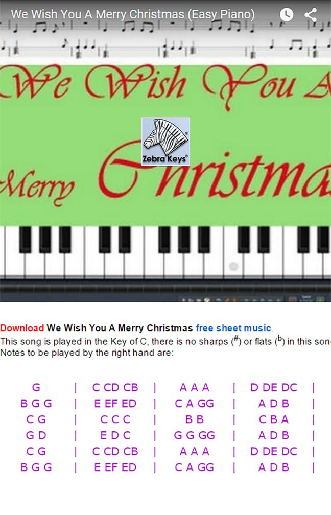 How To Play We Wish You A Merry Christmas Easy Piano Song With