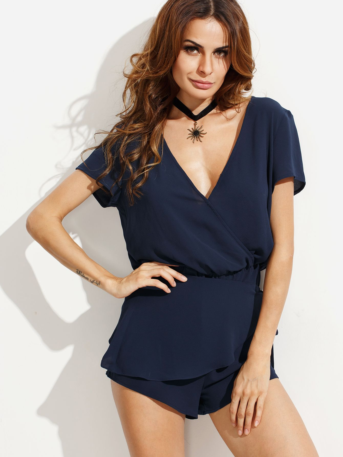 Shop Navy V Neck Tie Waist Short Sleeve Jumpsuit online. SheIn offers Navy V Neck Tie Waist Short Sleeve Jumpsuit & more to fit your fashionable needs.
