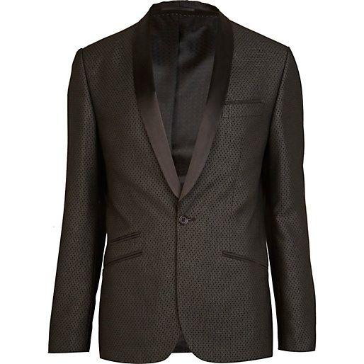Black jacquard pattern slim suit jacket - suits - sale - men ...