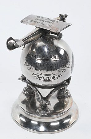 A 1930's Figural Trophie Won By Aviatrix Mary Sansom, she did high-flying feats in her airplane in the era of Amelia Earhart.............