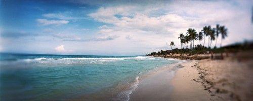 Scenic view of beach against cloudy sky (Blue), Santa Maria Del Mar Beach, Havana, Cuba, Poster Print (12 x 30)