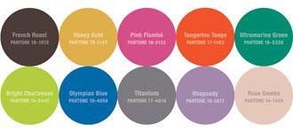 Pantone Fall/Winter 2012:  French Roast, Honey Gold, Pink Flambe, Tangerine Tango, Ultramarine Green, Bright Chartreuse, Olympian Blue, Titanium, Rhapsody, Rose Smoke